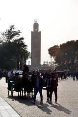 Koutoubia Mosque Minaret (itchypaws) Tags: marrakech marrakechtensiftalhaouz morocco ma koutoubia mosque horse cart jemaa elfnaa north africa