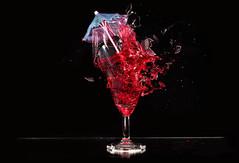 Broken umbrella stand (Wim van Bezouw) Tags: glass wine broken shot pluto sony ilce7m2 strobist plutotrigger highspeed airgun airpistol blackbackground water splash drops drop