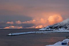 arriving in oksfjord (scott1346) Tags: sunset colors brilliance orange blue red gold 1001nights norway inlet winter 1001nightsmagiccity light luminosity reflections tones soft beauifuldestination
