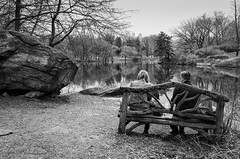 A Bench With A View (CVerwaal) Tags: benches blackandwhite centralpark rockformations thelake newyork ny usa ricohgr