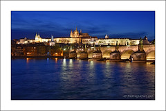Charles Bridge at Night (prendergasttony) Tags: prague bluehour bridge charles cathederal palace outdoors night vaction holiday lights river europe nikon d7200 reflection stvitus arches april water historical history elements