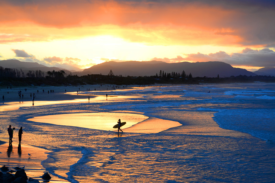 The pristine beaches of Byron Bay compliments the town's laid back atmosphere
