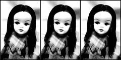 looking very Retro ^_^ (Belladona Blythe and Friends) Tags: handmadeclothes bw sindy dolls