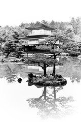 Kyoto - Kinkakuji - 01 (coopertje) Tags: japan kyoto kinkaku ji tempel temple goldenpavillion goudenpaviljoen gold blackandwhite bw reflection pool water