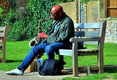 """""""You Got A Light Mac"""" (standhisround) Tags: hbm bench benchmonday london richmonduponthames uk musician music male seat saxophonist"""