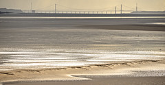 VIEW DOWN TO THE SEVERN BRIDGES (chris .p) Tags: lydney harbour gloucestershire nikon d610 river severn capture spring 2017 april water bridges light sand england uk