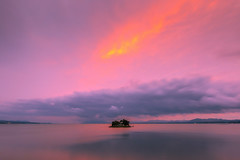 sunset 8034 (junjiaoyama) Tags: japan sunset sky light cloud weather landscape pink purple contrast colour bright lake island water nature spring