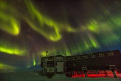 South Pole Station under Aurora Sky (redfurwolf) Tags: southpole southpolestation antarctica aurora auroraaustralis night sky building nature outdoor milkyway stars star light redfurwolf longexposure sonyalpha a99ii sony sal1635f28za