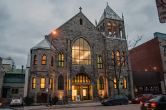 New Lease on Life (caribb) Tags: montreal montréal quebec québec canada urban city 2017 downtown centreville centrum mileend architecture church modern old windows convertedbuilding formerchurch gym sportscenter night dusk glow glowing belltower illuminatedbuilding light lighting hugewindow bigwindow