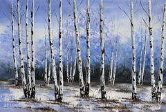 Snowbound, Art Painting / Oil Painting For Sale - Arteet™ (arteetgallery) Tags: arteet oil paintings canvas art artwork fine arts tree forest nature birch landscape leaves branch white grass park wood bark season trunk snow landscapes decorative forests cyan paint
