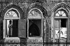 Untitled (Amna Yaseen) Tags: 2016 lahore walledcitylahore pakistan oldarchitecture windows girl home availablelight brick woodenwindows blackandwhite monochrome people socialdocumentary femalephotographer street