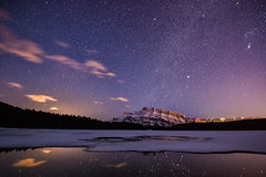 The Starry Nights of Spring (Kristin Repsher) Tags: alberta banff banffnationalpark canada canadianrockies d750 longexposure milkyway mountrundle mountains nightsky nikon reflections rockies rockymountains rundle starrysky stars twojacklake