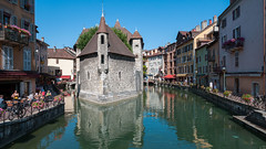 Annecy Boat Castle (Ron Scubadiver's Wild Life) Tags: urban landscape architecture castle water canal nikon sky annecy france reflection