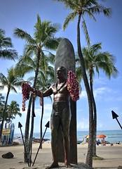 The Duke (kimbar/Thanks for 2.5 million views!) Tags: oahu hawaii waikiki beach ocean pacific surfboard sculpture statue leis dukekahanamoku