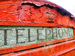 Old mobile. (S.K.1963) Tags: elements telephone box red paint pealing glass olympus omd em1 12 40mm pro