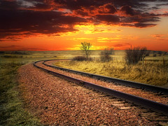 Tracks turn (mrbillt6) Tags: northdakota railroad tracks landscape rural prairie outdoors sky gravel field