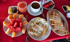 Western breakfast with bread, eggs and fruits (phuong.sg@gmail.com) Tags: bread breakfast chicken chili closeup color cooked cuisine cutlery delicious dish egg english food fork fried greens healthy kitchen lettuce macro mayonnaise meal meat pepper plate poultry salt sandwich sauce sausage shaker slice studio sunnysideup tasty toasted tomato triangle utensil vegetables western