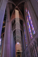Jacob's Dream: A Luminous Path, by Benjamin Bergery and Jim Campbell (JB by the Sea) Tags: sanfrancisco california april2017 urban nobhill gracecathedral church gothic frenchgothic benjaminbergery jimcampbell