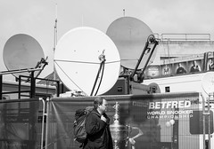 TV DISHES AT CRUCIBLE. SNOOKER CHAMPIONSHIPS_DSC_3281_LR_2.4 (Roger Perriss) Tags: sheffield crucible snooker dishes communications aerials d750 blackandwhite fence security