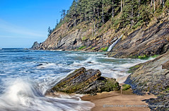 Oregon Coast (Gary Grossman) Tags: oswaldweststatepark shortsandsbeach oregon garygrossmanphotography neutraldensity sunny morning pacific pacificocean pacificnorthwest beach shore seascape landscape sand trees ocean rocks waterfall water waves nature natural naturalbeauty