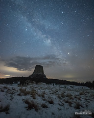 4:06AM (kevin-palmer) Tags: milkyway galaxy night sky stars starry dark space astronomy astrophotography clouds devilstower devilstowernationalmonument nationalmonument wyoming monolith nikond750 irix15mmf24 snow cold snowy spring april blackhills pinetrees forest joynerridge grassland prairie
