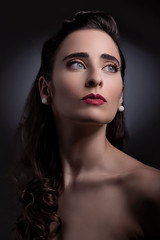 Antonella in the 50s (luca.onnis) Tags: lucaonnis photography portrait portraiture studioshot 1950 50 fifties celebrity blackhair greeneyes