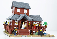 Tabashii's Tea House - Front Left (Cuahchic) Tags: lego foitsop japan cha teahouse skudae landsofroawia loreos culture moc build wooden timber tree minifig mongols