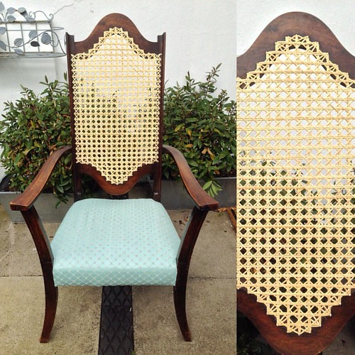 It was a pleasure to restore this chair back. There were no fiddly openers or necessity to soak the cane, and the end result is lovely. . .  #cane #canechair #caning #rattan #rattanchair #rattanfurniture #rattan #weaving #furniture #furniturerestoration #