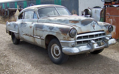 1949 Cadillac (coconv) Tags: pictures auto door old 2 two classic cars abandoned car yard sedan vintage dead photo junk automobile image photos antique picture images cadillac vehicles photographs photograph 49 vehicle junkyard autos collectible recycle collectors salvage coupe wrecked automobiles 1949 fastback blart sedanette
