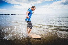 124/365 - 20mm When Skimboarding = Very Wet Camera (Chad Powell Design and Photography) Tags: boy summer man beach water sunny isleofwight watersports skimboarding iow watersport skimboard steephill steephillcove frozenmotion