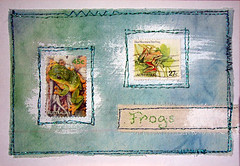 ICAD #15 (artygirl2010) Tags: art stamps fabric stitching acrylics artjournal machineembroidery postagestamps icad sewingonpaper stitchingonpaper