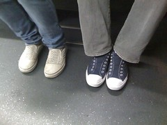 Laceless (smenjas) Tags: bus feet shoe floor lace sneakers jeans haight muni sparkly