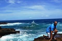 Oahu Shoreline Drive (95) (Herb In Hawaii) Tags: ocean blue friends sea sky people cliff usa beach clouds island hawaii rocks waves unitedstates pacific phil oahu bluewater sunny bluesky tourist cliffs pacificocean blowhole southpacific goofingoff land honolulu blueskies connie traveling swimmers herb clearsky sunnyday bluesea deepbluesea