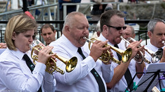 Powerful sound. (Neil. Moralee) Tags: street england white black color colour monochrome smart ties photography nikon cornwall band streetphotography horns trumpet neil shirts sound players brass padstow d7100 moralee neilmoralee rochebrass