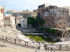 the Cavea of the Greek-Roman Theatre (Ania Mendrek) Tags: travel summer italy history greek ancient ruins holidays italia theatre roman country culture visit sicily catania sicilia greekromantheatre