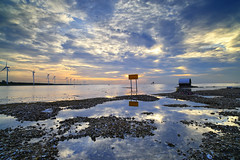ebb (Thunderbolt_TW) Tags: sunset sea sky sun reflection water windmill canon landscape taiwan  getty    windturbine gettyimages  changhua       hsienhsi   changpingindustryarea hybai