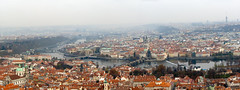 Prague (PangolinOne) Tags: bridge panorama church skyline river boat cityscape prague cathedral places czechrepublic charlesbridge stnicholascathedral karlvmost oldtownhall staromstskradnice wallensteinpalace valdtejnskpalc tnskchrm churchofourladybeforetn petnhill hlavnmstopraha chrmsvathomikule ikovtelevisiontower