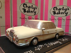 3D Mercedes Benz 1970 280se replica shaped Wicked Chocolate cake covered in ivory fondant icing (Charly's Bakery) Tags: ladies man car 40th formal novelty 50th noveltycake