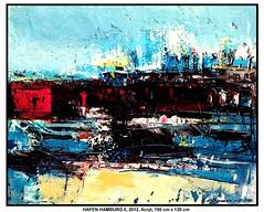 HAFEN HAMBURG (CHRISTIAN DAMERIUS - KUNSTGALERIE HAMBURG) Tags: orange berlin rot silhouette modern strand deutschland see licht stillleben dock meer wasser foto fenster räume hamburg herbst felder wolken haus technik porträt menschen container gelb stadt grün blau ufer hafen fluss landungsbrücken wald nordsee bäume ostsee schatten spiegelung schwarz elbe horizont bilder schiffe ausstellung schleswigholstein figuren landschaften wellen häuser rapsfelder fläche acrylbilder hamburgermichel realistisch nordart acrylmalerei expressionistisch acrylgemälde auftragsmalerei bilderwerk auftragsbilder kunstausschreibungen kunstwettbewerbe galerienhamburg auftragsmalereihamburg cdamerius hamburgerkünstler malereihamburg kunstgaleriehamburg galerieninhamburg acrylbilderhamburg virtuellegaleriehamburg acrylmalereihamburg