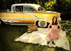 "Nikki Bee and our 1956 Watson styled Oldsmobile. • <a style=""font-size:0.8em;"" href=""http://www.flickr.com/photos/85572005@N00/10031197093/"" target=""_blank"">View on Flickr</a>"
