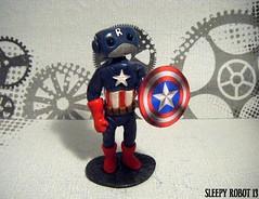 Captain Robotica Robot (Sleepy Robot 13) Tags: cute robot diy handmade robots polymerclay fimo comicbook kawaii sculpey etsy urbanvinyl marvel sculpting smallbusiness sleepyrobot13 polymerclayurbanvinylsleepyrobot13etsysilvercraftcraftscraftingsculptingsculpturefigurinearthandmadecraftshowcutekawaiirobots