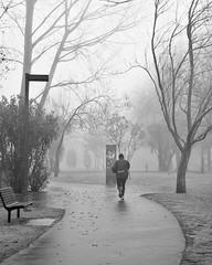 Deporte no parque (Alberte A. Pereira) Tags: bw bn bp frio névoa vilanovadecerveira