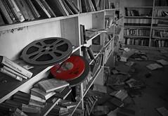 Adding color (builder24car) Tags: school red blackandwhite abandoned film forgotten urbanexploration behind left artsyfartsy ruraldecay selectivecolor urbex moviereels
