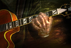 Jazz (Terry Pellmar) Tags: music texture hands guitar digitalart jazz digitalpainting instrument hll mygearandme