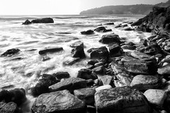 Peveril Point (Photograferry) Tags: ocean uk longexposure winter sea sky blackandwhite water monochrome coast rocks waves minimal dorset swanage jurassic southengland peverilpoint