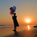 Girl with balloons [Explored] (pallab seth) Tags: silhouette girl balloon odisha puri bayofbengal india sunset playing samsungnx300m samsung16mmf24ifunctionlens flickrlogo orissa 2016
