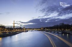 Passing Boat (Lonely Soul Design) Tags: paris pont alexandre iii longexpo long exposure boat trail light sunset eiffel tower