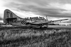 Abandoned Gannet (Cathy Lovell) Tags: aviation aircraft plane royal navy fairey gannet abandoned decay decaying long exposure field errol scotland monochrome black white military