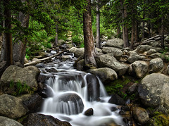 A Secret Place in the Woods (renarik) Tags: secret secluded forest water stream waterfall rocks pines