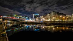 BERLIN - Panorama railway station Friedrichstrasse (Klaus Mokosch) Tags: railwaystation berlin night nacht bluehour city urban panorama architektur architecture reflection spiegelung spree klausmokosch hdr color